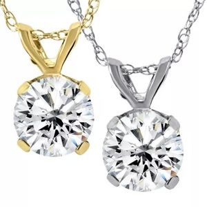 Jewelry - 3/4ct Natural Diamond Pendant 14K Gold Necklace